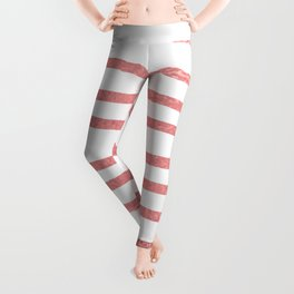 Simply Drawn Stripes Warm Rose Gold on White Leggings