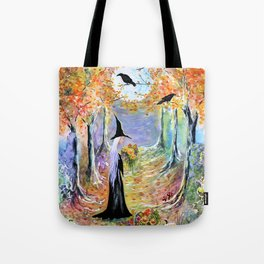 """Autumn Forest"" Witch in colorful forest Tote Bag"