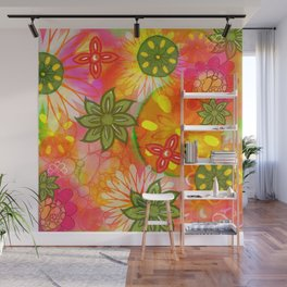 Tropical Coloured 60's Hippies Flowers Pattern Wall Mural