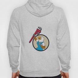 Plumber Eagle Raising Up Pipe Wrench Circle Cartoon Hoody