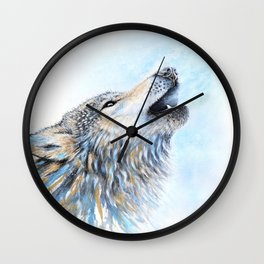 """Howling"" Watercolor Wolf Wall Clock"