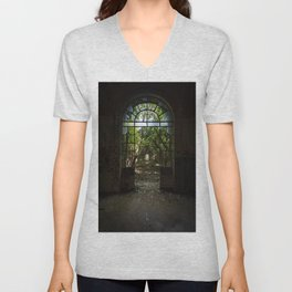Arched door with broken windows in an old dilapidated Italian building Unisex V-Neck