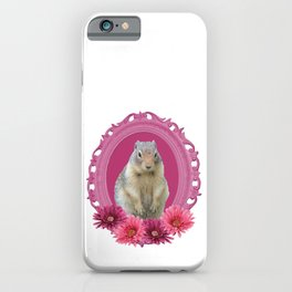 Marmot in Pink Frame with Gerbera Flowers iPhone Case