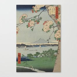 Cherry Blossoms on Spring River Ukiyo-e Japanese Art Canvas Print