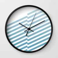 bands Wall Clocks featuring Blue Bands by blacknote