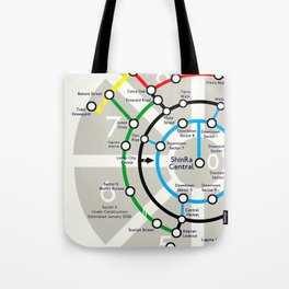 Final Fantasy VII - Midgar Mass Transit System Map Tote Bag