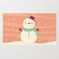 snowman Area & Throw Rugs featuring Snowman by Claire Lordon