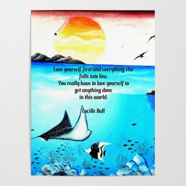 Love Yourself First Inspirational Quote With Underwater Scene Painting Poster