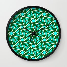 Turquoise Triangles Forest Green Hexagons on Butter Cream Yellow Southwestern Design Pattern Wall Clock