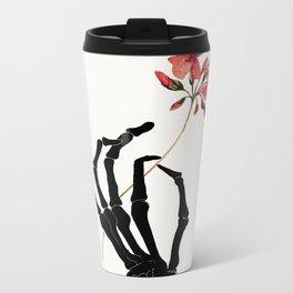 Skeleton Hand with Flower Metal Travel Mug