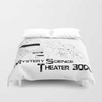 theater Duvet Covers featuring Mystery Science Theater 3000 by Carrie Ann Schumacher