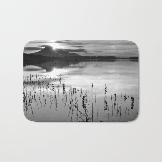 Calm At The Lake. At sunset.. Bw Bath Mat