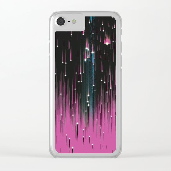 Pink Meteors Clear iPhone Case