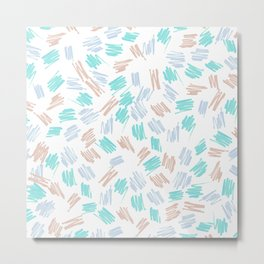Modern pastel brown teal watercolor brushstrokes pattern Metal Print