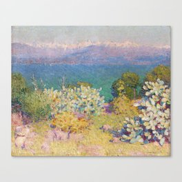 John Peter Russell - In the morning, Alpes Maritimes from Antibes Canvas Print