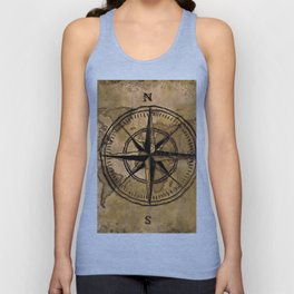 Destinations - Compass Rose and World Map Unisex Tank Top