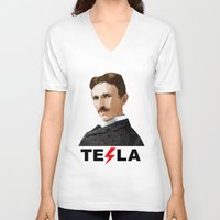 tesla V-neck T-shirts featuring Tesla by Vi Sion