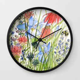 Botanical Garden Wildflowers and Bees Wall Clock