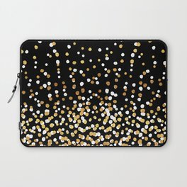 Floating Dots - White and Gold on Black Laptop Sleeve