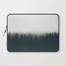 Moody Black & White Pine Misty Foggy Forest Minimalist Landscape Photography Laptop Sleeve