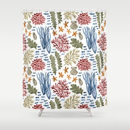 Coral Reef Watercolor Pattern- Maroon Shower Curtain