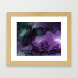 Abstract Ink Painting Deep Purple Green Framed Art Print