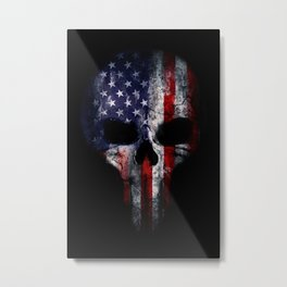 American Flag Punisher Skull Grunge Distress USA Metal Print