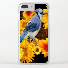 DECORATIVE BLUE JAY YELLOW SUNFLOWERS BLACK ART Clear iPhone Case