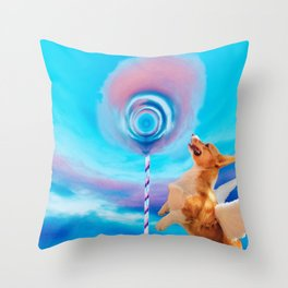 Giant pink cloud lollipop and a flying corgi Throw Pillow