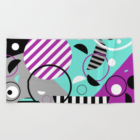 Bits And Bobs - Abstract, geometric design Beach Towel