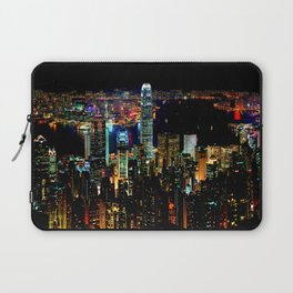 Hong Kong City Skyine Black Night Laptop Sleeve