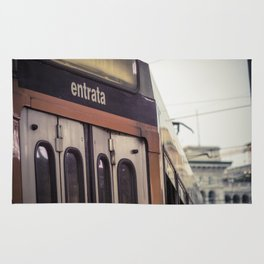 Entrance of a tram in the center of Milan Rug