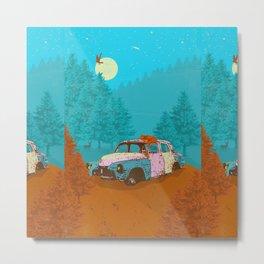 FOX & OLD RUSTY CAR Metal Print