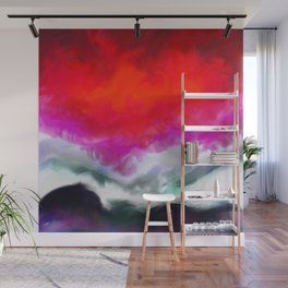 Abstract in Red, White and Purple Wall Mural