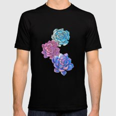 Vibrant Succulents  Black MEDIUM Mens Fitted Tee