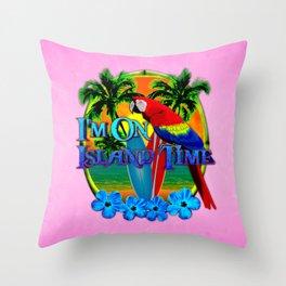 Pink Island Time Sunset Throw Pillow
