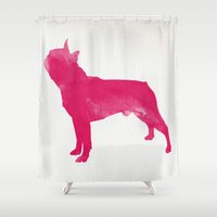 boston terrier Shower Curtains featuring Boston Terrier by Three Black Dots