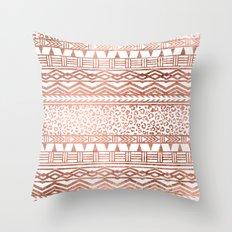 Modern rose gold leopard geometric aztec pattern Throw Pillow