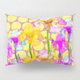 FUCHSIA-YELLOW IRIS GARDEN DESIGNS Pillow Sham