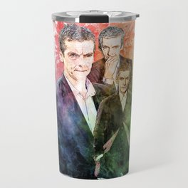 12th Doctor/Doctor Who/Peter Capaldi inspired Mixed Media Watercolor Portrait Travel Mug
