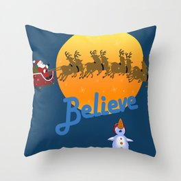 Believe In Santa Claus  Throw Pillow