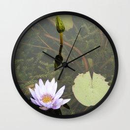 Blue Lotus Bud to Bloom Wall Clock