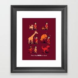 Please Keep Pets on a Leash Framed Art Print