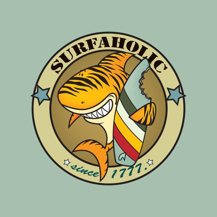 Surfaholic tiger shark Duvet Cover
