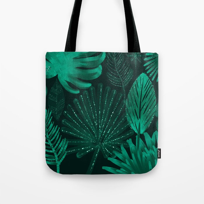 Emerald botanical - tropical ferns and palms Tote Bag