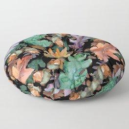 Colorful Woodland Watercolor Oak And Acorn Pattern Floor Pillow
