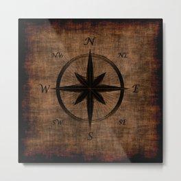 Nostalgic Old Compass Rose Metal Print