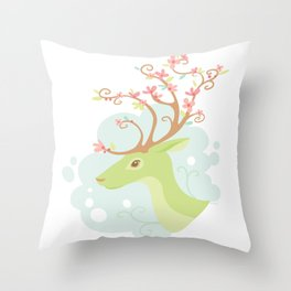 Spring Antlers Throw Pillow