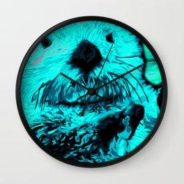 Sea Otter, mint green Wall Clock