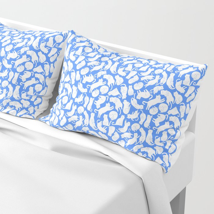 White cats on blue Pillow Sham